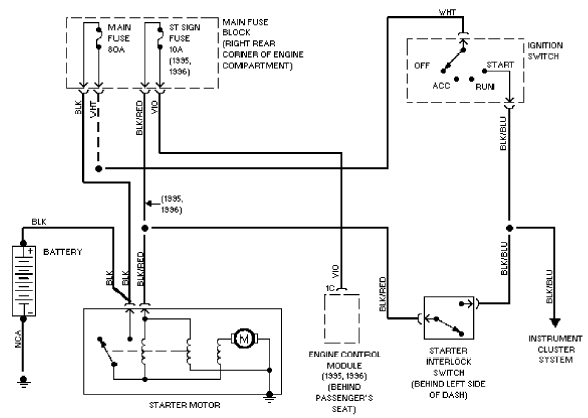 Mazda Miata Starting System Circuit on 1990 Mazda Miata Wiring Diagram