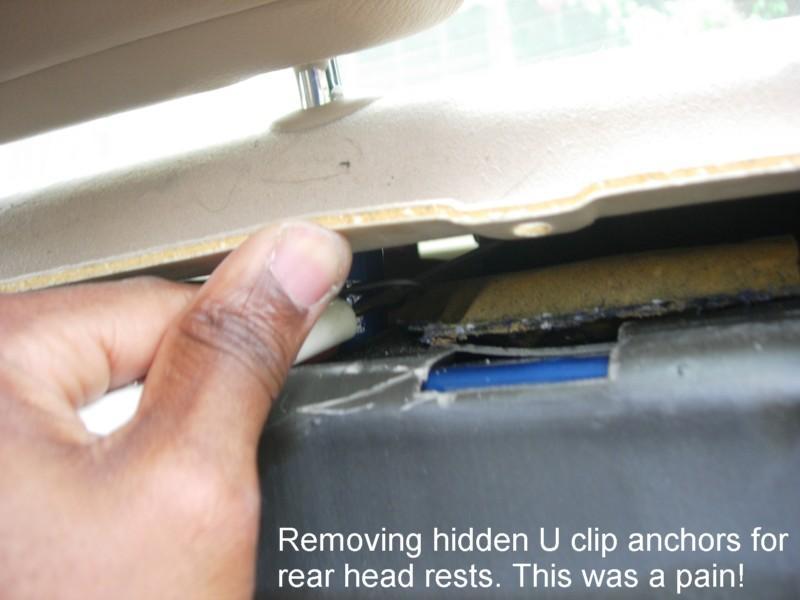 BMW E46 headrest hidden u-clip anchors