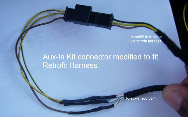 Aux-In kit connector modified to fit retrofit harness