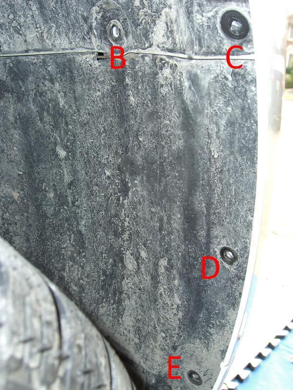 Audi A3 fender well bumper screws
