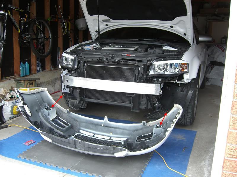 Audi A3 bumper removed