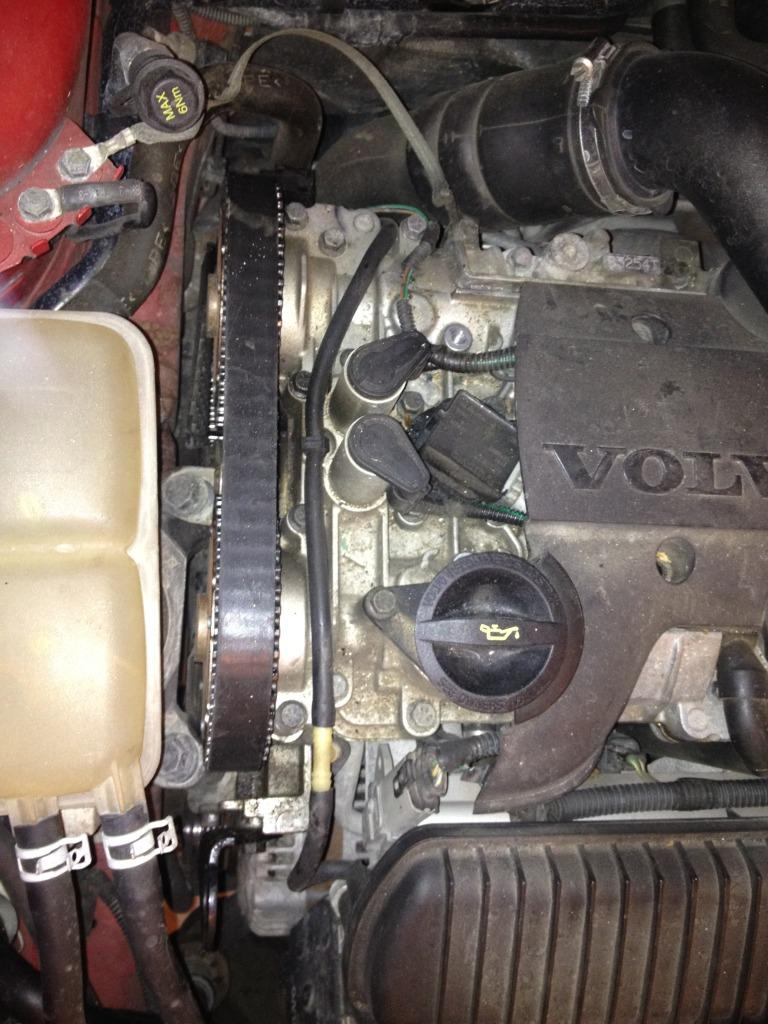 Timing Belt Replacement Steps Updated By Shadowlord Volvo Diys Pontiac 3 4 Engine Diagram Tensioner Next Step Would Be Removing The Coolant Reservoir So You Can Gain Access To Side Mount Wiggling It While Pulling Up As Its Not Secured Any