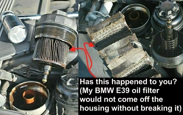 Bmw e39 oil filter change vacuum extraction method by bluebee diy old oil filter in order to get it off the filter housing cap it had been on only for a few months but it seemed stuck like it was glued on permanently solutioingenieria Image collections
