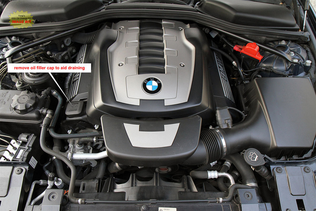 Bmw 650i 645ci e63 e64 oil change and check control reset diy remove the oil fill cap on top of the engine to aid the draining of oil solutioingenieria Image collections
