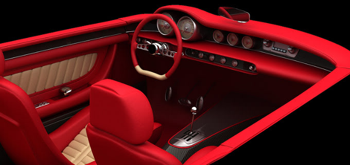 Volvo P1800 custom interior rendering