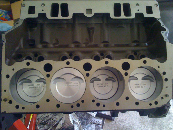 pistons in engine block