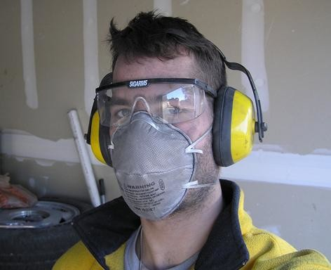 mask and ear protection