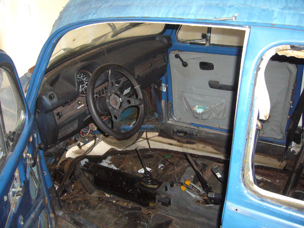 VW Beetle interior removed