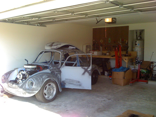 VW Beetle in garage