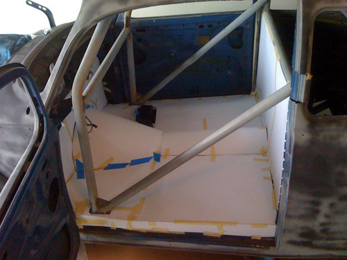 VW Beetle interior with roll cage